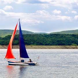 Boat on lake by Remus Lungu - Sports & Fitness Watersports ( skyline, lake, boat )