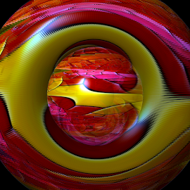 Red and Gold Abstract by Tina Dare - Digital Art Abstract ( abstract, patterns, colorful, manipulated, designs, distorted, curls, mosaic, curves, shapes )