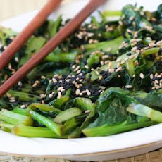 Chilled Wilted Tatsoi Salad with Sesame-Ginger Dressing