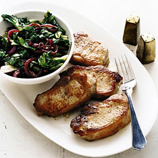 Pork Chops with Escarole and Balsamic Onions