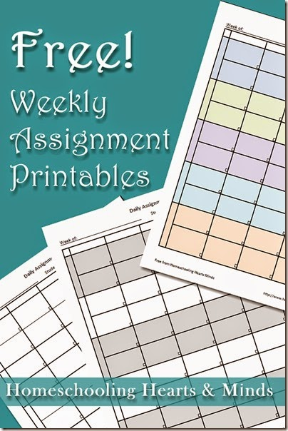Free Weekly Assignment Printables at Homeschooling Hearts & Minds