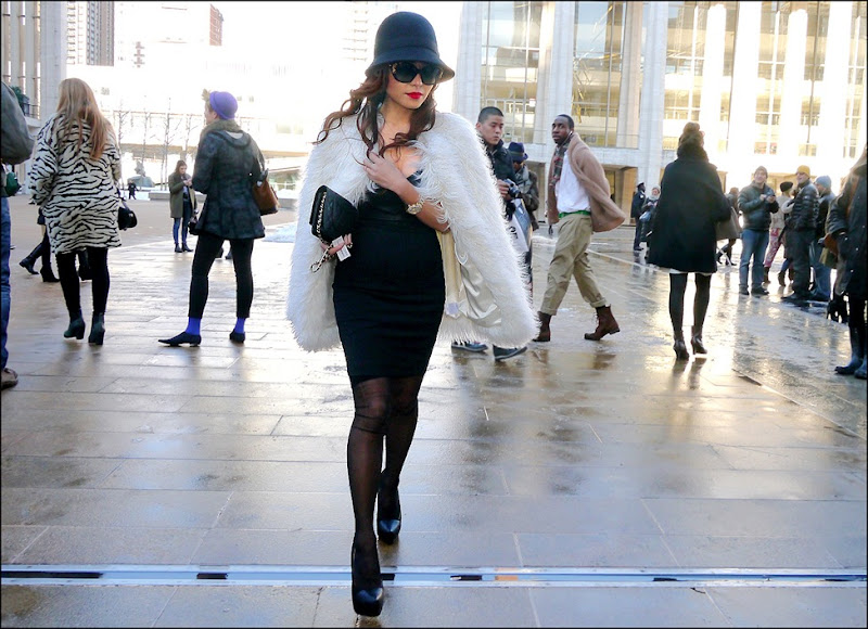 21 w white fur black dress black clutch black hat platform heels black stockings big sunglasses hs ol