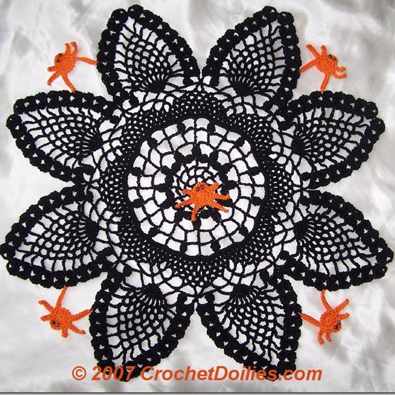 Tapete negro paras halloween de crochet