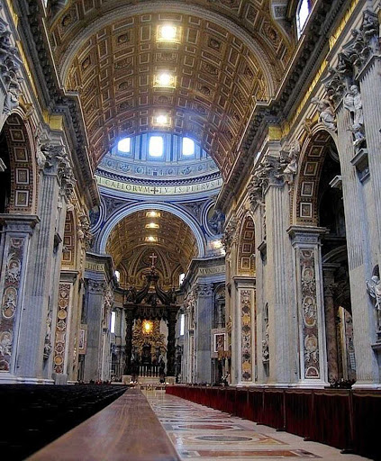 St-Peters-Basilica - Aisle leading up to the altar in St. Peter's Basilica in Vatican City.