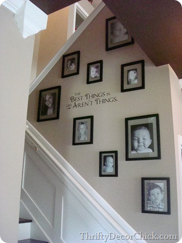photo wall on stairs