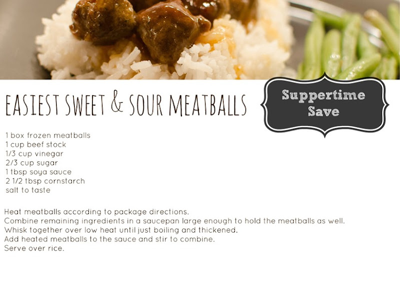 Easiest Sweet & Sour Meatballs Recipe Card