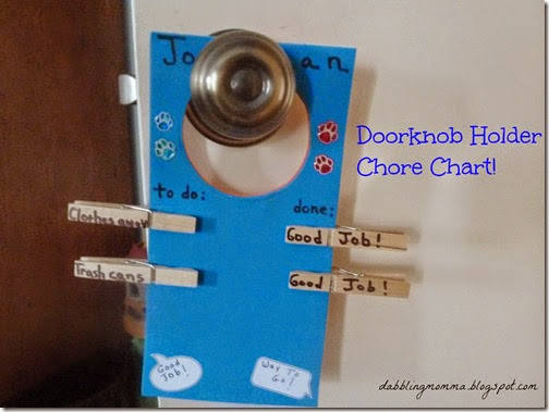 Doorknob Chore Chart from Dabbling Momma