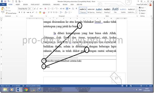 Cara Membuat Footnote Atau Catatan Kaki Di Office Word 2013 Pro Duck