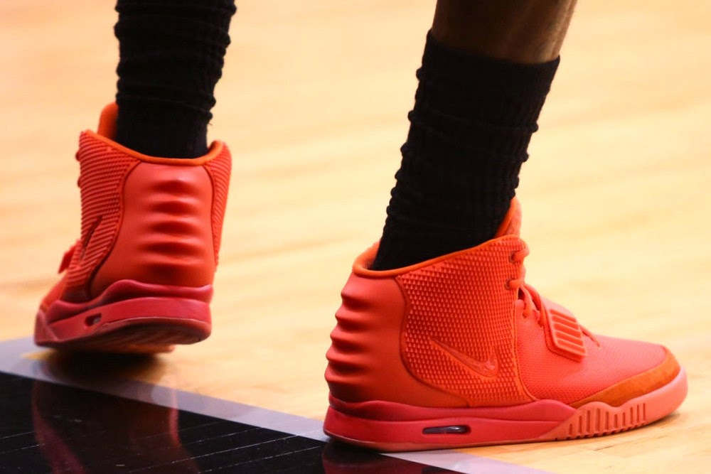 f481ab83f89c3 LeBron James Practices in the 8220Red October8221 Nike Air Yeezy 2 ...