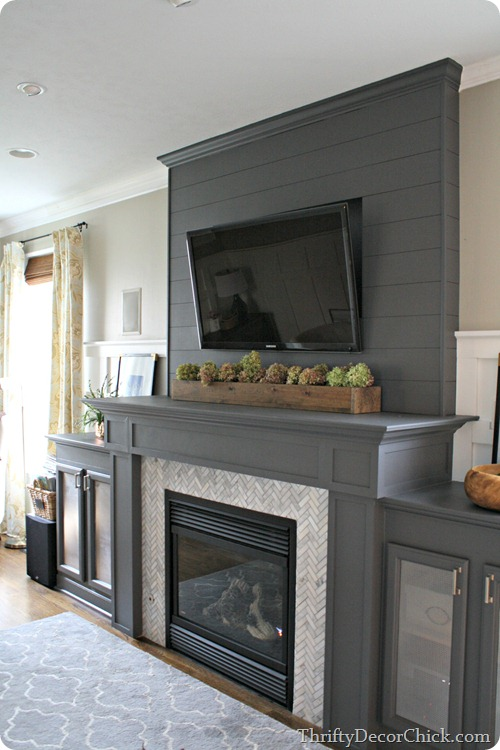 gray painted fireplace @thriftydecorchick