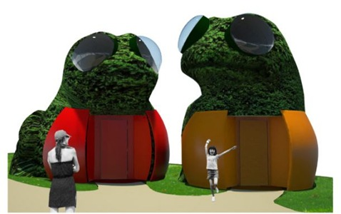 topiary frog toilets