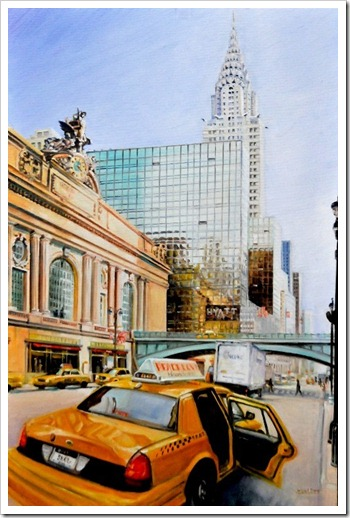 yellow taxi linen painting