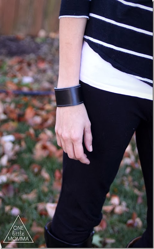 Wide leather cuff, black and white