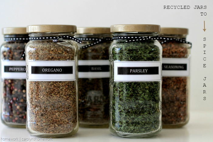 Sauce Jar Upcycle to Spice Jars with Printable Labels - homework (5)