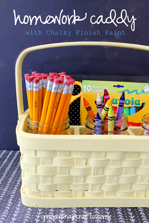 Homework Caddy with Americana Decor Chalky Finish Paint at GingerSnapCrafts.com #Decoart #ad
