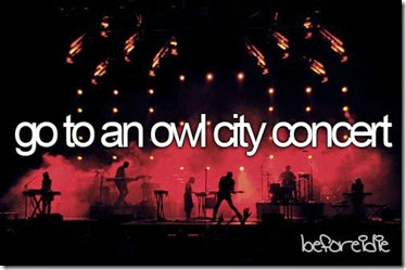 Bucket List - Go to an Owl City Concert