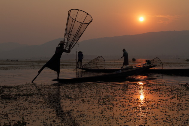 Group of Inle Fishermen during sunset