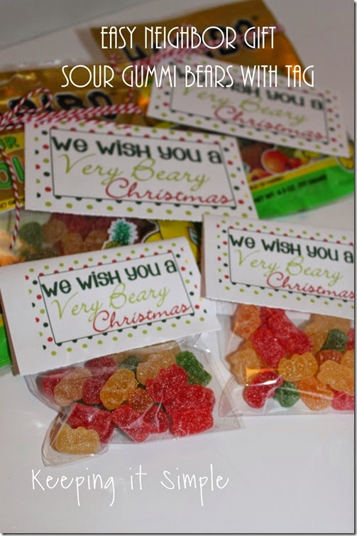 Neighbor gift idea- Sour gummy bears with printable tag