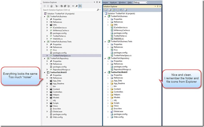 Figure: VS2012 RC Solution Explorer needs more contrast!