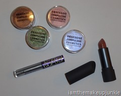 items from Obsessive Compulsive Cosmetics Fragmented Alice, Lime Crime Cosmetics and Bite Cosmetics