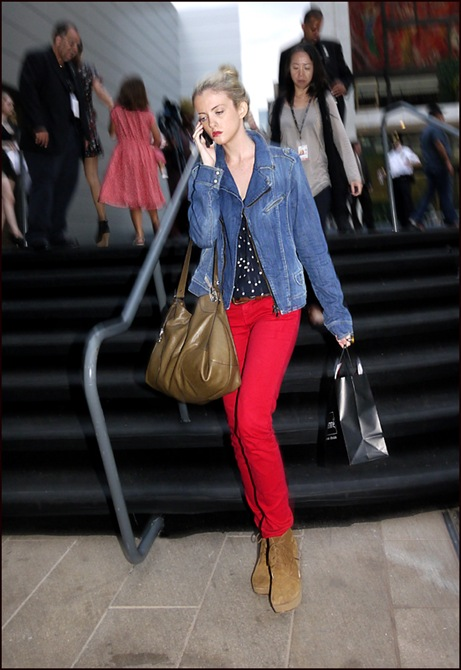 w red pants denim jacket navy with white polka dot top  ol
