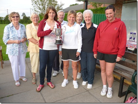 Nantwich Tennis Club Ladies 'A' team with the 2012 Ladies Division 1 cup