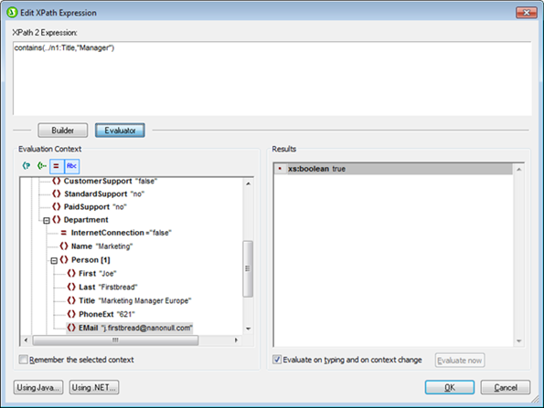 StyleVision 2013 XPath expression evaluator