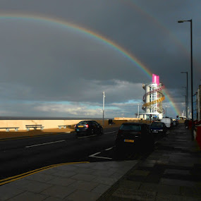 Rainbow beacon  by Ste D - Landscapes Weather ( houses, sky, cars, beacon, road, rainbow )