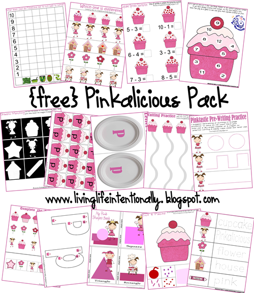 Preschool Worksheets - Pinkalicious Theme for 2-6 year olds