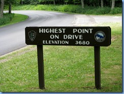 1175 Virginia - Shenandoah National Park - Skyline Drive  - Highest Point On Drive sign