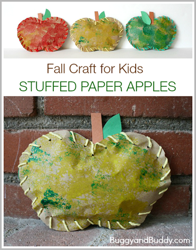 """stuffed"" Apple Craft for Kids #preschool #craftsforkids #september"