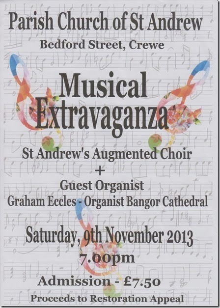 Musical Extravaganza - Parish Church of St Andrew Crewe - Sat 9 Nov 2013