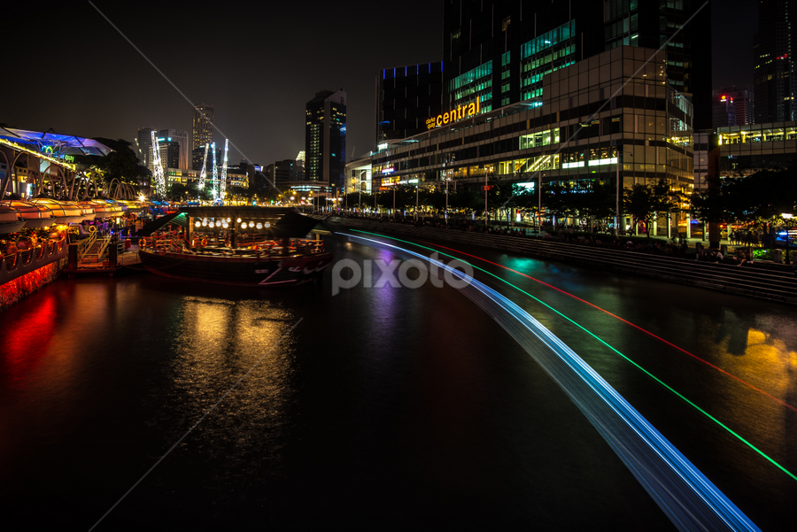 Clarke Quay by SooSing Goh - City,  Street & Park  Night ( clarke quay, night, singapore, boat trails, singapore river,  )