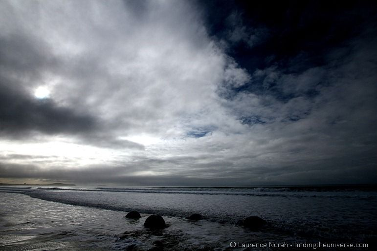 Boulders sea sky