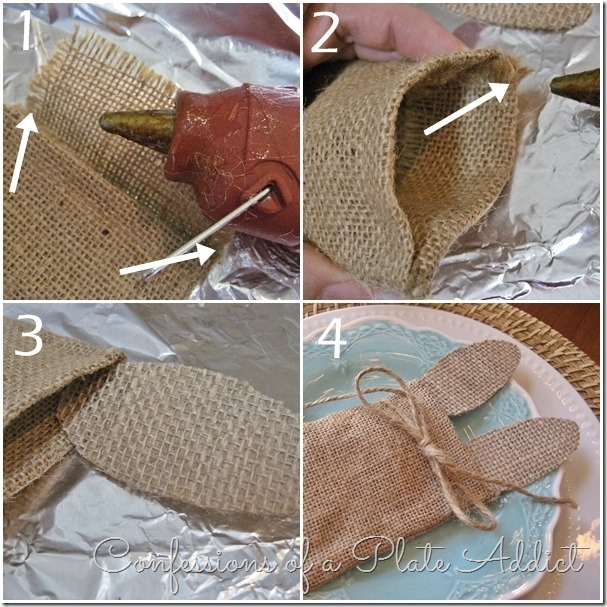 CONFESSIONS OF A PLATE ADDICT No-Sew Bunny Ear Silverware Pocket Tutorial