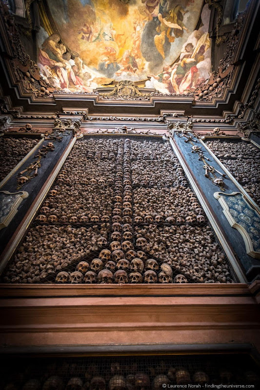 ossuary church skulls cross Milan