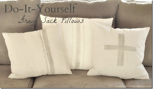 DIY Faux Grain Sack Pillows