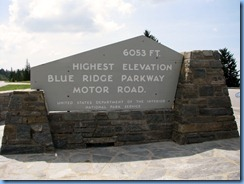 0597 North Carolina, Blue Ridge Parkway - Richland Balsam Overlook - Highest Elevation Blue Ridge Parkway Motor Road sign