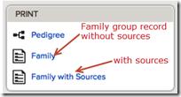 在打印框中,为谱系,家庭和家庭提供的选项