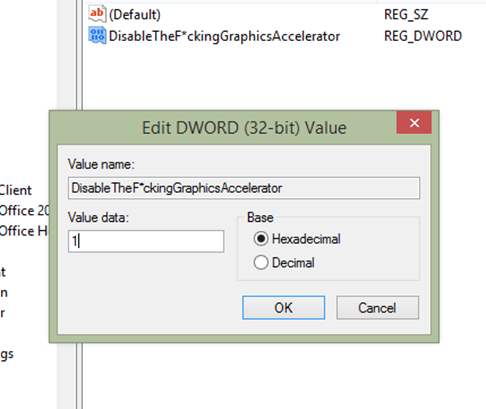 Registry value for disabling graphic acceleration in Excel 2013