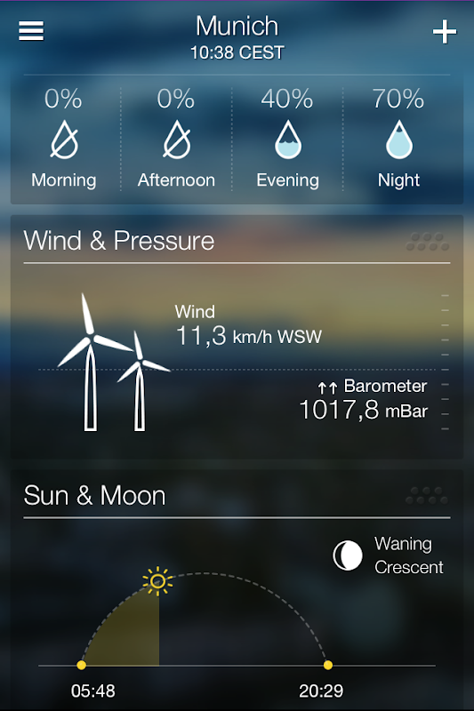 Yahoo! Weather Sun and Moon