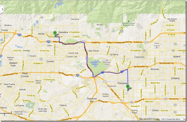 Map showing Glendora to Pomona
