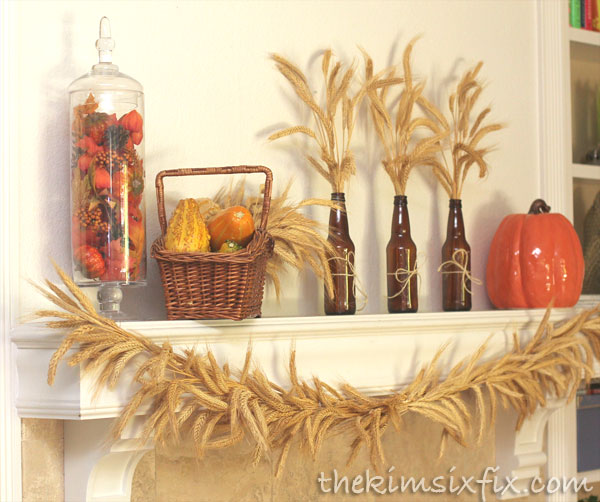 Thanksgiving wheat mantel