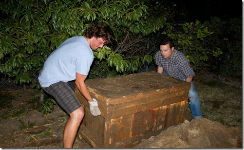 residents removing the aztec box from burial spot