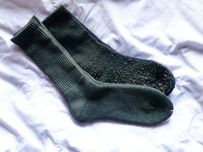 今年のヒートッテックの靴下との比較