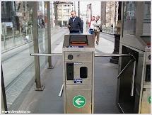Турникет для посадки в трамвай.