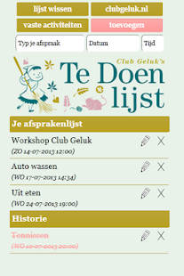 Club Geluk's To Do list