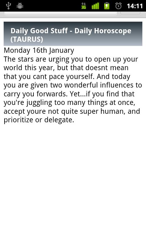 Taurus Daily Horoscope - screenshot