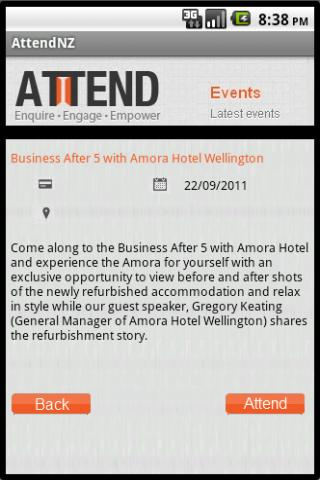Attend NZ- screenshot