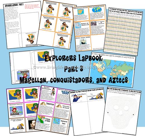 FREE Exploreres Lapbook (3) - Magellan, Conquistadors & Aztecs